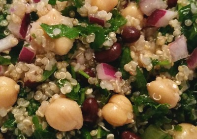Quinoa & Kale Salad with Black Beans and Chickpeas